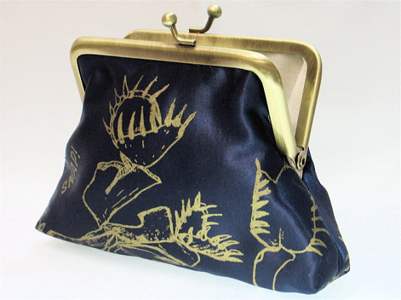 Hand printed gold Venus Fly Trap coin purse